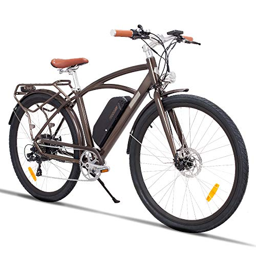 "28"" Electric City Bike Aluminum 7 Speed E-Bike, 48V Lithium Battery 750W Electric Bicycle for Adults (Coffee)"