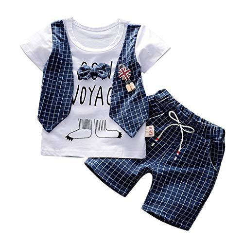 Conjunto de 2 Piezas de Manga Corta para niños Camiseta Superior con Pajarita y Letra Falsa de Dos Piezas + Pantalones Cortos de Bolsillo a Rayas