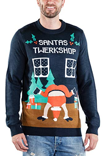Tipsy Elves Men's Twerk Shop Sweater - Funny Twerking Santa Christmas Sweater: L Navy Blue