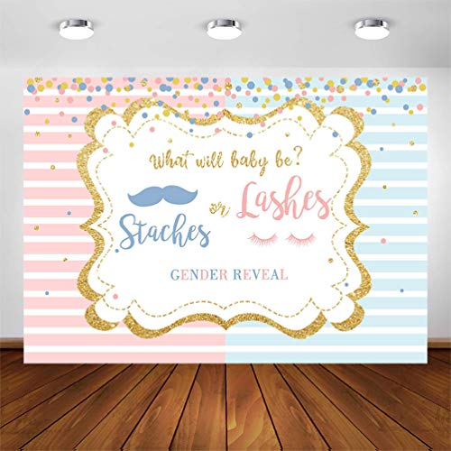 COMOPHOTO Staches or Lashes Gender Reveal Backdrop Pink or Blue Mustaches or Lashes Gold Glitter Photo Background 7x5ft Boy or Girl Gender Reveal Party Decorations Photography Backdrops