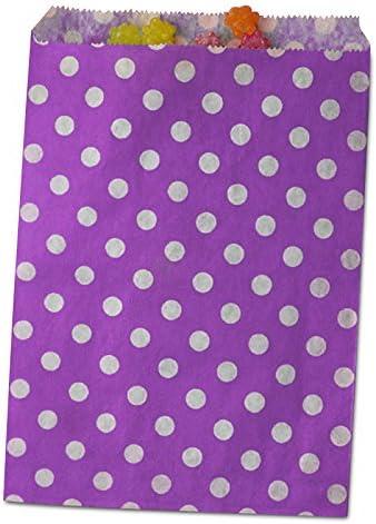 100ea - 6-3/8 X 8-1/2 Purple Polka Dot Merchandise Bags