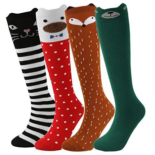 PHOGARY 6 Pairs Knee High Socks Long Warm Cotton Socks Girls Cute Animal Socks Over Calf Over Knee Cartoon Socks For 3-12 Years Old Girls Kids Teens Christmas Gift Cat Bear Fox Pattern