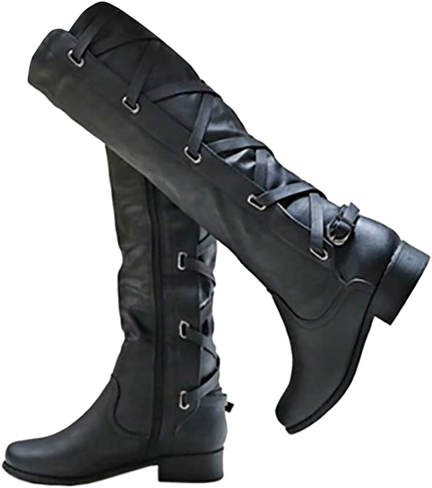 Womens Buckle Knee High Boots Riding Strappy Lace Up Pleated Low Heel Combat Boots