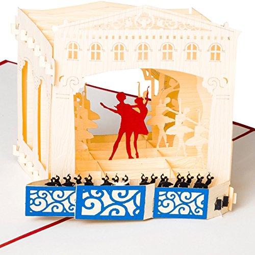 3D Pop Up Karte Musical Theater mit Ballet Tänzern & Orchester, Karte als Konzert-Gutschein, Musical-Gutschein, Theater-Gutschein