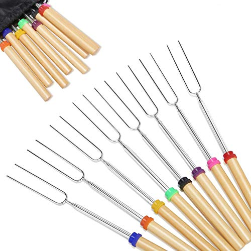 BININBOX Marshmallow Roasting Sticks, 8 Pack Roasting Sticks with Wooden Handle 32 Inch Extendable BBQ Forks Telescoping Smores Sticks for Fire Pit, Campfire
