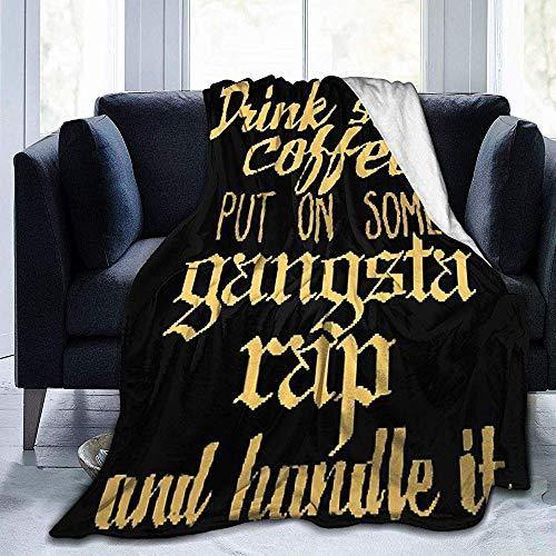 Lichtgewicht flanel deken, hypoallergene deken, zachte fleece deken, cabine gooien deken, drinken wat koffie, zet op sommige gangsta Rap en handvat het warm winter gooien deken, bed bank deken