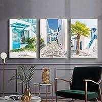 海景ストリートツリーサンセットウォールアートキャンバス絵画北欧のポスターとプリントリビングルームの装飾のためのアートウォールの写真-40x55cmx3個フレームなし