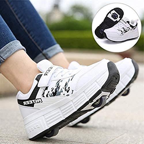 XPF Zapatos con Ruedas Patines De Ruedas Zapatillas 2 En 1 Niños Niñas Patines De Hielo Zapatos De Skate Zapatillas De Gimnasia Al Aire Libre,White-36