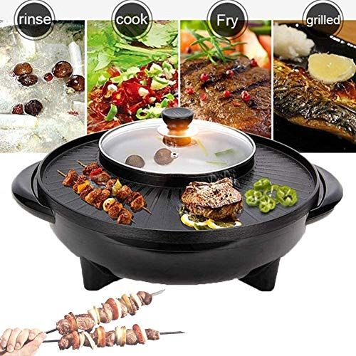 RVTYR Cast Aluminum Table Top Grill Kochplatte, Teppanyaki-Tischgrill, 4 in 1 Multifunktionshaus Indoor-Party geeignet for den Haushalt Non-Stick Rotating Barbecue Dish Camping Grill