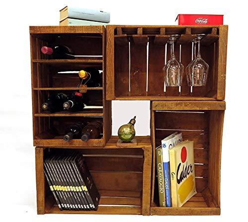 Cajones de fruta, botelleros, librero, mueble bar modular compuesto po
