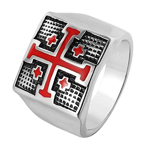 NA Stainless Steel Mens Rings Red Cross Knights Templar Ring Silver,Size 7-14