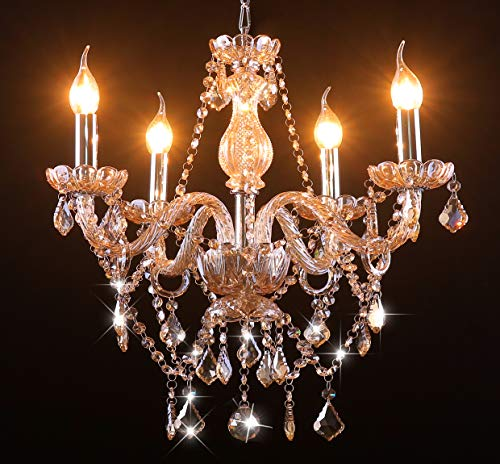 Cognac 4 Lights K9 Crystal Chandelier Modern Luxurious Light Candle Pendant Lamp Ceiling Living Room Lighting for Dining Living Room Bedroom Hallway Entry 21.5x21.5 Inch Gifts£¨Cognac Color) ¡