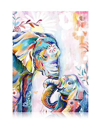 Ruby Beauty Paint by Numbers for Adults Beginner Elephants DIY Oil Painting Parent Kids Animals Drawing Paintwork with Paintbrushes Acrylic Pigment Home Decor 16 x 20 (Without Frame)