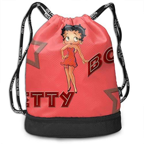 KANSS Anime Betty Boop Bolsas con cordón multifunción Bapa grande Caity Ligero Simple Portátil Divertido Bolso, Para Mujeres Niños Escuela Gimnasio Viajes (Poliéster)