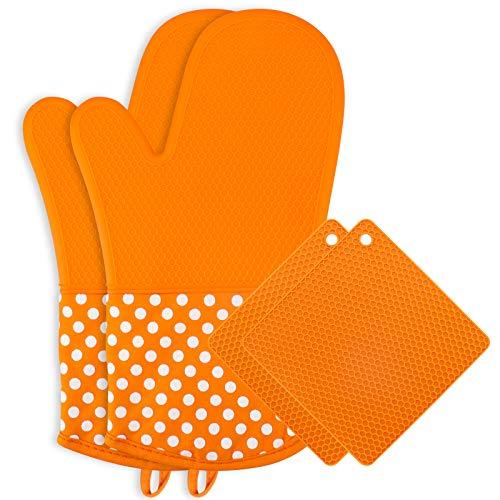 Karanice Silikon Ofenhandschuhe und Topflappen Set,1 Paar Topfhandschuhe&2 Silikon Topfuntersetzer Anti-Rutsch Hitzebeständig Geeignet für Kochen und Backen BBQ