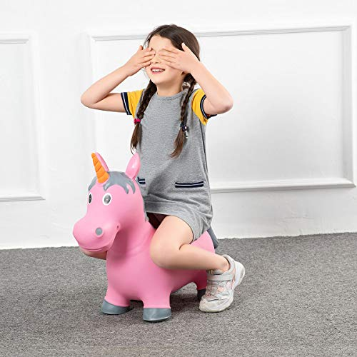 Babe Fairy Bouncy Horse-Jumping Horse with Pump-Inflatable Ride-On Animals Toy for Kids-Horse Hopper for Toddlers(Pink Unicorn)