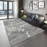 Alfombra Suelo Bebe Alfombra de Sala de Estar Gris Patrón de Plantas en Forma de corazón Durable Alfombra Anti-ácaros Gris alfombras para Exterior 200x300cm Alfombra Silla Gaming 6ft 6.7''X9ft 10.1''