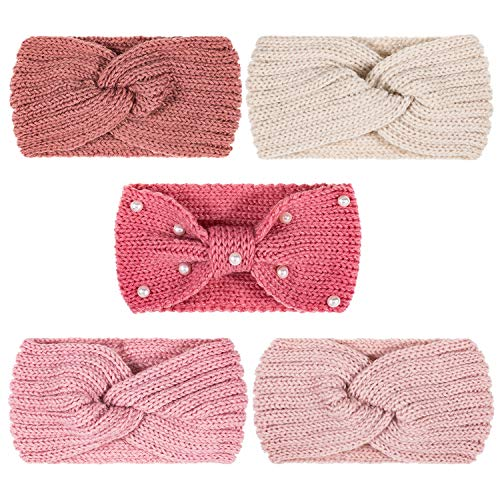 Whaline 5 Pieces Knit Headbands Winter Ear Warmers, 4 Elastic Turban Head Wraps and 1 Pearl Crochet Hair Band, Hair Scrunchies Scarves for Women Girls (Pink Colors)