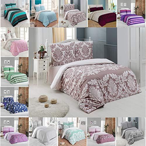Buymax Bettwäsche-Set 3 Teilig, Renforce-Baumwolle, Reißverschluss, 200x220 cm,Beige, Muster