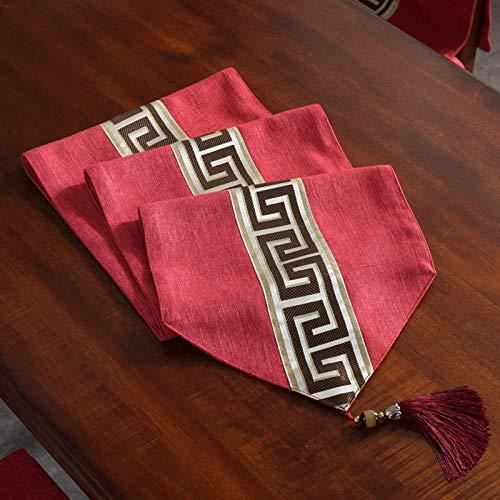Branfan nieuwe Chinese tafel lopers Zen thee mat katoen linnen TV kast tafelkleed moderne minimalistische bed sjaal salontafel doek - China rood_32x160cm (voor 120cm salontafel)