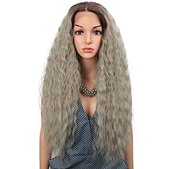 Joedir 13x4 Lace Frontal Wigs 29  Free Part Ombre Long Curly Lace Front Wig with Baby Hair Hight Temperature Easy-360 Synthetic Wig (Ash Blonde)