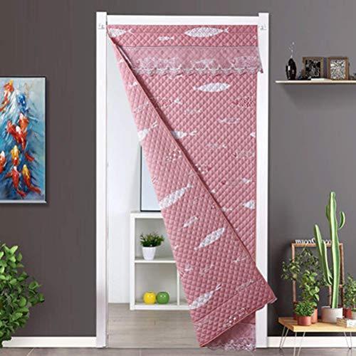 SLM-max Starke warme Baumwolle Vorhang, Haushalt Windsicher Partition Vorhang, können beide Seiten Gebraucht-Herbst und Winter-Eindickung-Rosa,130×240cm