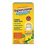 Aspercreme Essential Oils Lidocaine Pain Relief with Bergamot Orange, Roll-On No Mess Applicator, 2.5 oz.