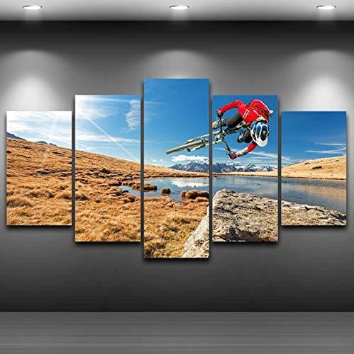 Ssckll Modular Wall Art Pictures Canvas HD Impreso Pintura 5 Panel Deportes Extremos Bicicleta De Montaña Poster Modern Home Decor-con Marco
