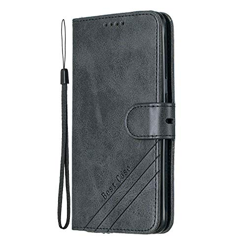 Lomogo Galaxy J5 2016 Hülle Leder, Schutzhülle Brieftasche mit Kartenfach Klappbar Magnetisch Stoßfest Handyhülle Case für Samsung Galaxy J5 2016/J510 - LOHEX120160 Schwarz