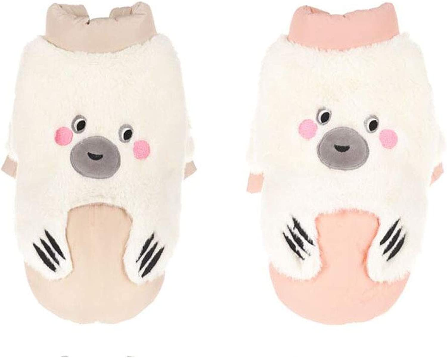 Puppy Clothes, Pomeranian, Teddy Bear, Deer Dog, Puppy, Pet Autumn and Winter Clothing (color   Pink, Size   M)