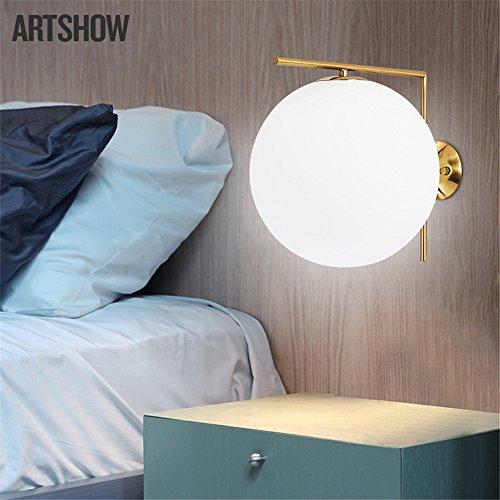 DengWu wandverlichting, moderne en minimalistische strijkijzer, wandlampen, Nordic creatieve melk, wit glas, bol, studie slaapkamer, bed, lampen, hanglamp (diameter 32 cm).