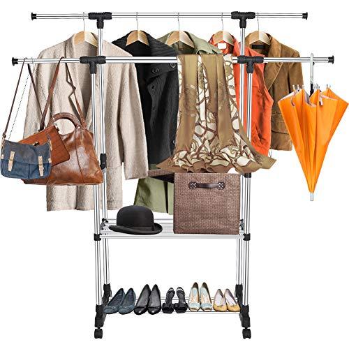 Ejoyous Kleiderständer Ausziehbar 80-155cm mit Rollen, Kleiderständer, Garderobenständer, verstellbare Kleiderstange, mit Rollen, aus mit Edelstahl plattiertem Rohr