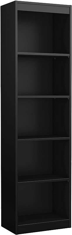 South Shore Axess Collection 5 Shelf Narrow Bookcase Pure Black