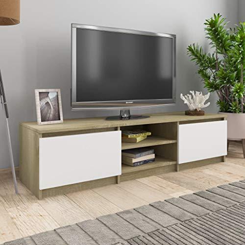 UnfadeMemory Mueble para TV Moderno,Mesa para TV,Mueble de hogar,con 2 Cajones y 2 Compartimentos Abiertos,Estilo Clásico,Madera Aglomerada (Blanco y Roble Sonoma, 140x40x35,5cm)
