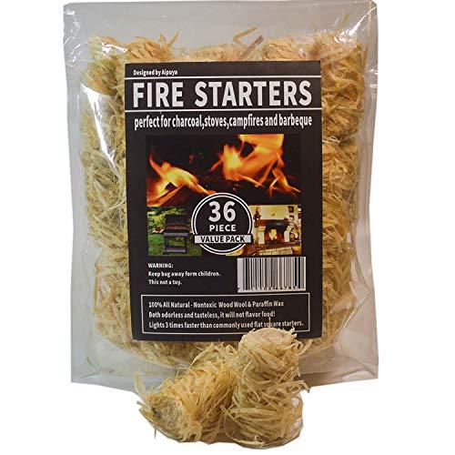 100 % natürliche Holzkohle-Feueranzünder, super schnelle Beleuchtung, perfekt für Grills, Kamado, Smoker, Holzofen und Lagerfeuer 36pieces Burlywood