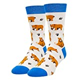 HAPPYPOP Funny Shark Corgi Pug Sneaker Flamingo Socks Men Boys, Novelty Crazy Animal Lovers Gift