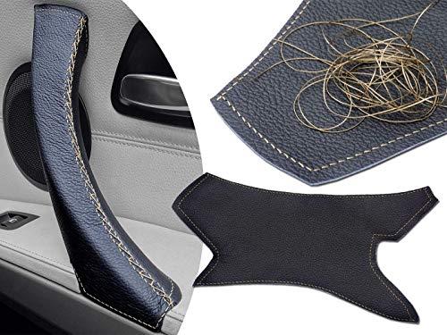 Arreglo de cuero de la manija de la puerta dañada para la serie 3 E90 E91 E92 E93 y M3 - Puntada dorada, pasajero DERECHO, delantero o trasero