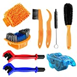 Bike Cleaning Kit, 9 Pieces Bicycle Cleaning Brush Tool, Bike Chain Cleaner, Cycling Brush Set, Suitable for Mountain Bike, Road Bike, BMX and Folding Bike