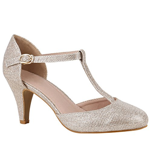 Damen Schuhe Pumps Mary Janes Blockabsatz High Heels T-Strap 156189 Gold T-Strap 38 Flandell