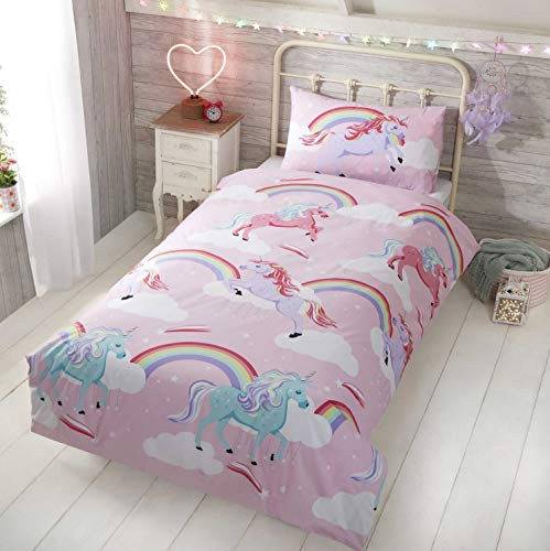 Rapport Little Unicorn Single Duvet Quilt Cover Bedding Set, Polyester, Pink, 135x200cm & 1x Pillow Case 50x75cm