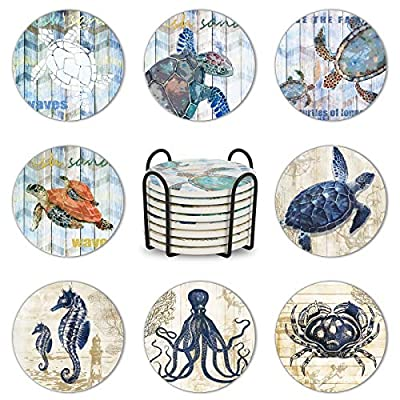 Set of 8 Coasters for Drinks, Maxuni Ceramic Co...