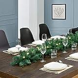 Juskys Weihnachtsgirlande künstlich mit LED Lichterkette | 5m | 100 Lichter warmweiß | IP44 Innen | grün | Weihnachten Girlande Weihnachtsdeko - 3