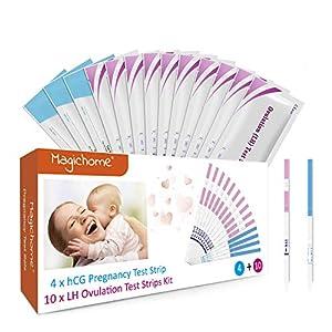 Magichome 10 Tests de Ovulación 25 Miu/Ml, Tiras De Prueba De Ovulación(Lh), y 4 Extremadamente Temprano Tests de Embarazo HCG 25 mIU/ml Sensible y Preciso Resultados