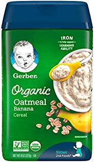 Gerber Baby Cereal Gerber Organic Oatmeal Cereal with Banana, 8 Ounces (Pack of 6)
