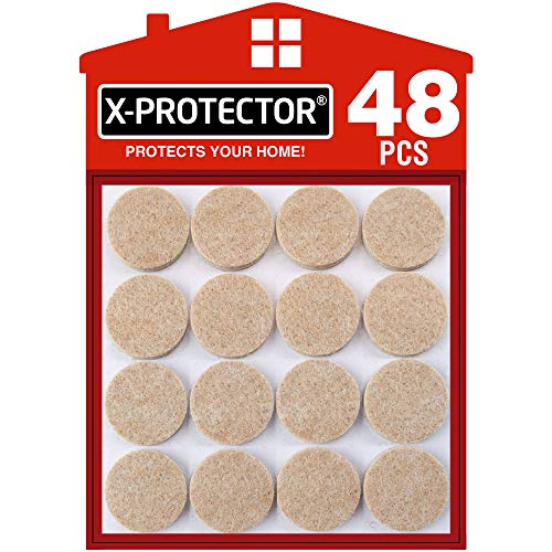 Felt Furniture Pads X-PROTECTOR - 48 Premium Felt Pads Floor Protector Beige - Chair Felts Pads for Furniture Feet Wood Floors - Best Furniture Pads for Hardwood Floors - Protect Your Wood Floors!