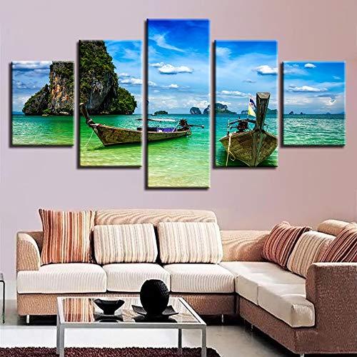 Rahmenlose Malerei 5 Stücke Hauptdekoration Wandkunst HD-Druck Inselboot und Blauer Himmel und weiße Wolke Seestück Leinwand Wohnzimmer DekorationZGQ4730 40x60cmx2, 40x80cmx2, 40x100cmx1