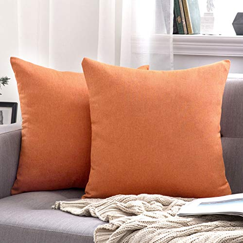 MIULEE Pack of 2 Decorative Outdoor Solid Waterproof Throw Pillow Covers Cotton Linen Garden Farmhouse Cushion Cases for Patio Tent Balcony Couch Sofa 18x18 inch Orange