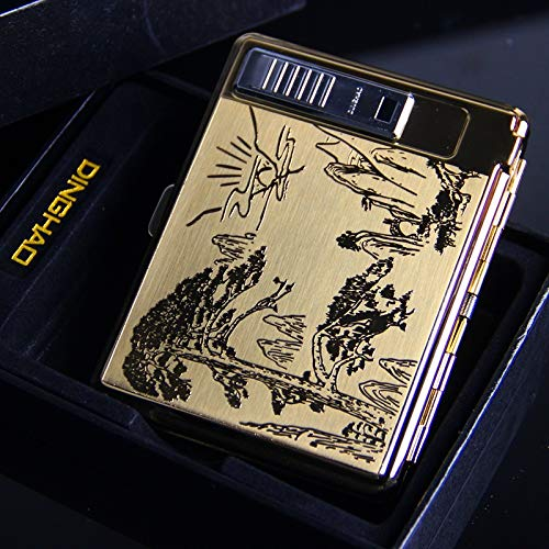 XIAOXIA 20 Unids De Acero Inoxidable Metal Caja De Cigarrillo Pop-Pop-Tapa USB...