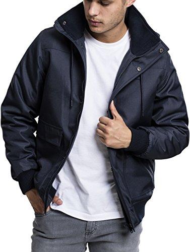 Urban Classics Herren Winterjacke Heavy Hooded Jacket, gefütterte Jacke mit abnehmbarer Kapuze mit Kunstfell-Futter - Farbe navy, Größe XL