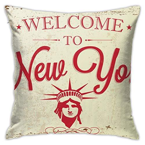 iksrgfvb Fundas de Cojines Fundas de Cojines decoración Cartel de Saludo Vintage Retro turístico, Fondo tipográfico Bienvenido a Nueva York en el sofá Cama de Coche 45X45 CM